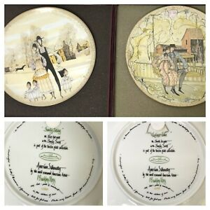 Lot-of-2-P-Buckley-Moss-Plate-Family-Series-American-Silhouettes-Plate-1-amp-4