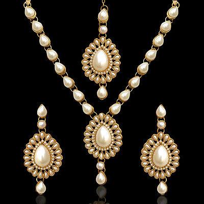 India jewelry bollywood colourful stone kundan like mang tikka necklace set mw82