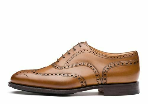 Men's Handmade Genuine Tan Cuir Oxford Richelieu à Bout D'aile Formel Mariage Chaussures