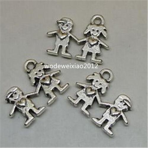 30pc Retro Tibetan Silver lovers Charm Bead Pendant accessories Findings JP579