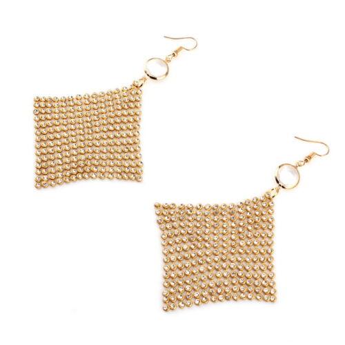 Square Net Verre Cristal Strass Boucles D/'oreilles Pendantes pour Femme Métal Pendentif Dangle
