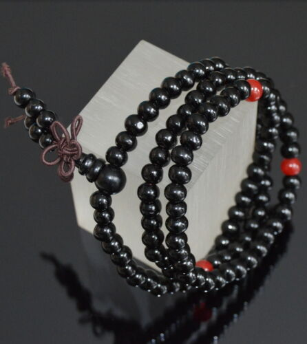 Holz Armband Wickelarmband Mala Buddhistische Gebetskette Rosenholz  Karneol