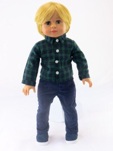 2 Piece Outfit - Navy Pants & Shirt Fits American Girl Dolls Boys & Logan - 18