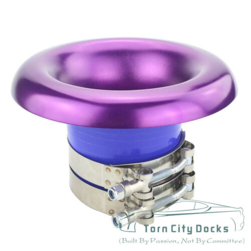 "4/"" Short  Cold Air Compressor Intake Inlet Velocity Stack Turbo Horn Kit purple"