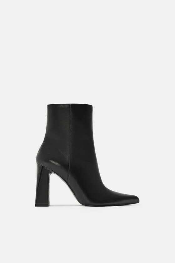 Zara Ancho Tacón Tobillo botas Negro Tamaño nos 10 Nuevo