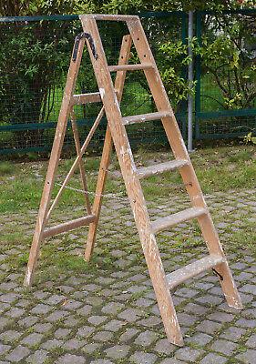 Holzleiter,setztreppe Alte Malerleiter Höhe 133 Cm Hitze Und Durst Lindern. Sonstige Energisch Alte Stabile Leiter Aus Holz Original, Vor 1960 Gefertigt