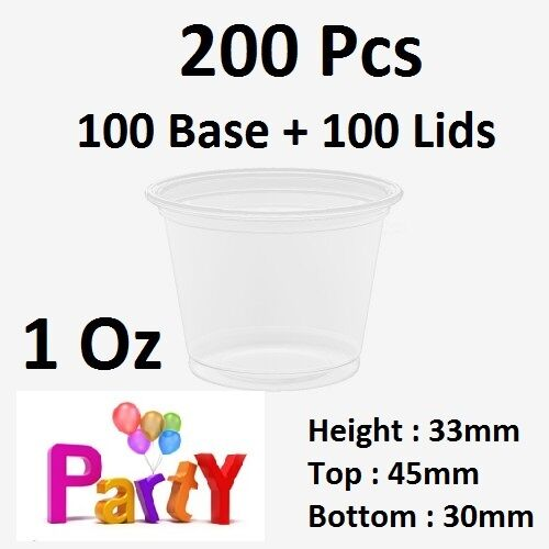 200 Pcs, 100 Base + 100 Lids: 1Oz (30ml)  Round Sauce Take Away Containers