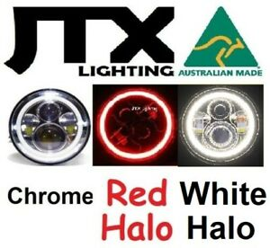 """JTX 1 pair 7"""" Chrome LED Headlights with RED and White Halo Angel Eye DRL"""