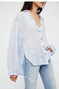 Free-People-Woven-Headed-To-The-Highlands-Sz-S-Button-Down-Top-Blue-Blouse