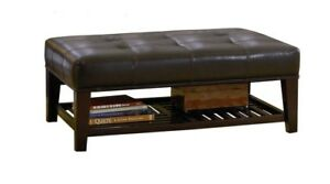 best website 3a277 e3b42 Details about Contemporary Faux Leather Tufted Cocktail Ottoman with  Storage Shelf 500872