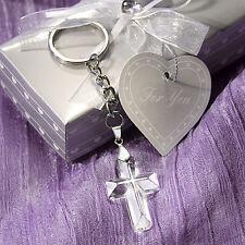30 Choice Crystal Cross Key Chain Baptismal Communion Wedding Christening Favor
