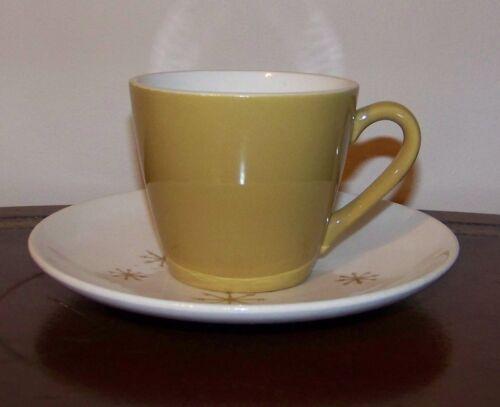 Royal China USA Star Glow Flat Cup /& Saucer Set Gold Ironstone Vintage 1960/'s
