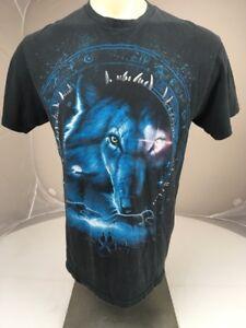 Vintage 80s 90s Tribal Moon Wolf Spirit Animal T-shirt SS black and