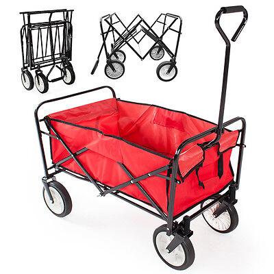 Heavy Duty Folding Garden Trolley Cart Wagon Truck 4 Wheel Transport Wheelbarrow