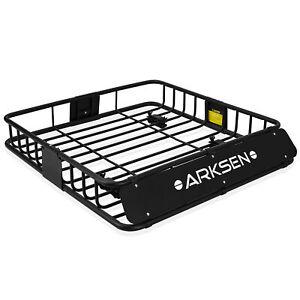 HD-Black-Steel-Roof-Basket-Carrier-Rack-Car-Top-Luggage-Cargo-Storage-Traveling