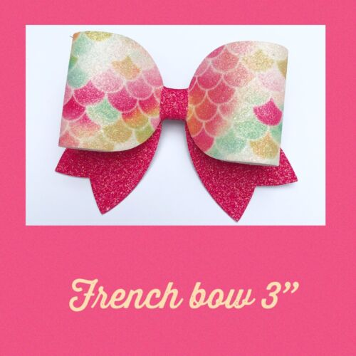 "French Plastic Hair bow Template 3""  Tails Down"