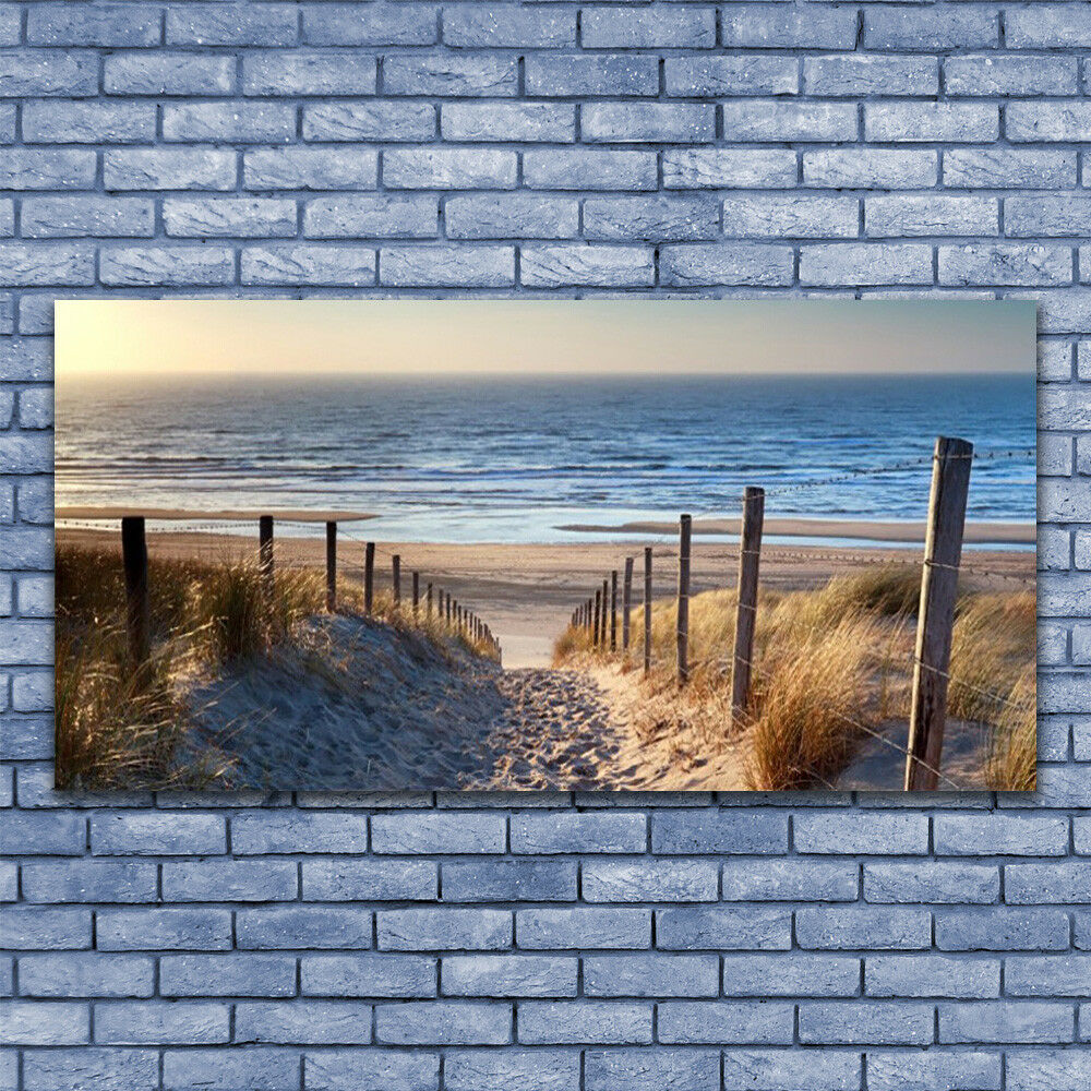 Glass print Wall art 140x70 Image Picture Beach Footpath Landscape