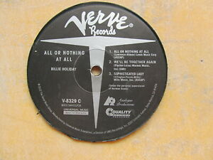 Details about VINYL LP RECORD CENTER/LABEL: BILLIE HOLIDAY All or Nothing  At All VERVE V8329