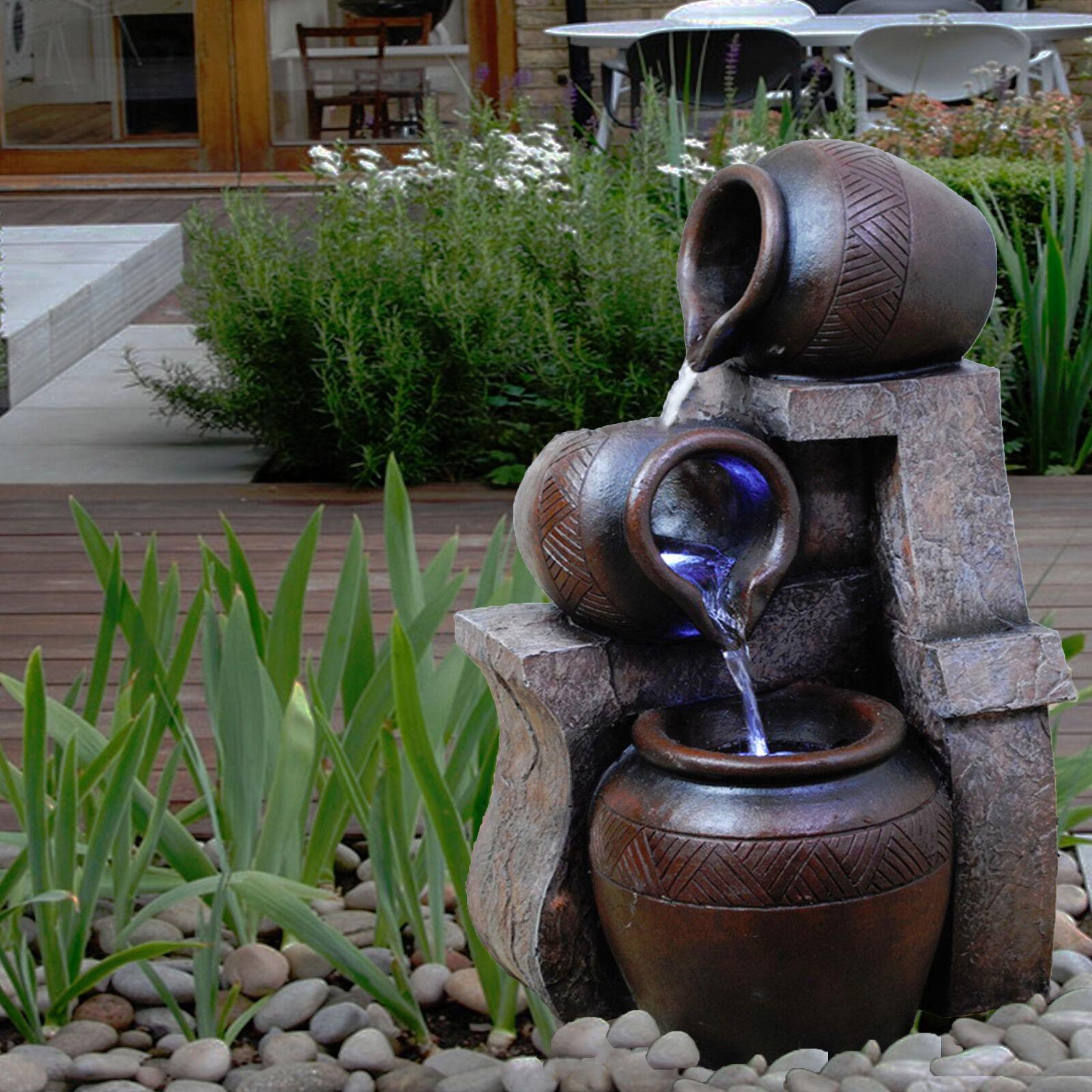En Cascada Jarra Interior Fuente de Agua Luces LED Estatua Jardín