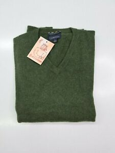 PULL TAILLE L SWEATER HOMME 100% PUR CASHMERE CACHEMIRE PURE CLUB ROOM VERT