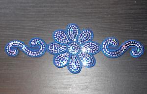 Blue flower sequin embroidery patch hotfix applique motif dress