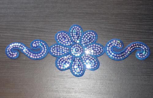 blue flower sequin embroidery patch hotfix applique motif dress dance costume