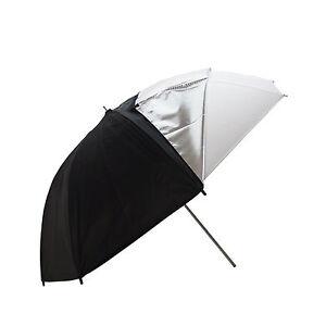 Ombrello-Doppia-Superficie-Argento-Nero-con-Diffusore-Bianco-109cm-per-Studio