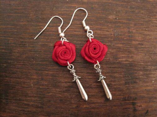 Red Rose Daga Espada SP Pendientes Gótico Tatuaje Rockabilly