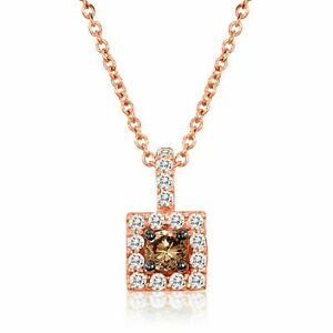 LeVian 14K Rose Gold Round Chocolate Brown Diamond Pretty Halo Pendant Necklace