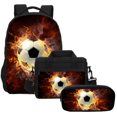 3PCS Flame Soccer Backpack School Insulated Lunch Bag Pen Pencil Case Wholesale