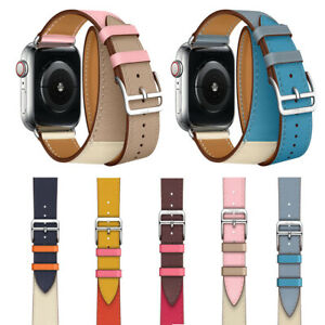 Leather-Single-Tour-Double-Tour-Strap-Band-Bracelet-For-Apple-Watch-Series-4-3-2