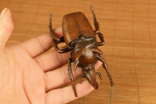 big chinese old red copper hand carved insect statue figure netsuke ornament