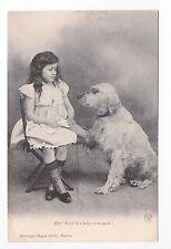 Animal CHIEN Chiens DOG dogs 36 carte fantaisie chien blanc fillette robe