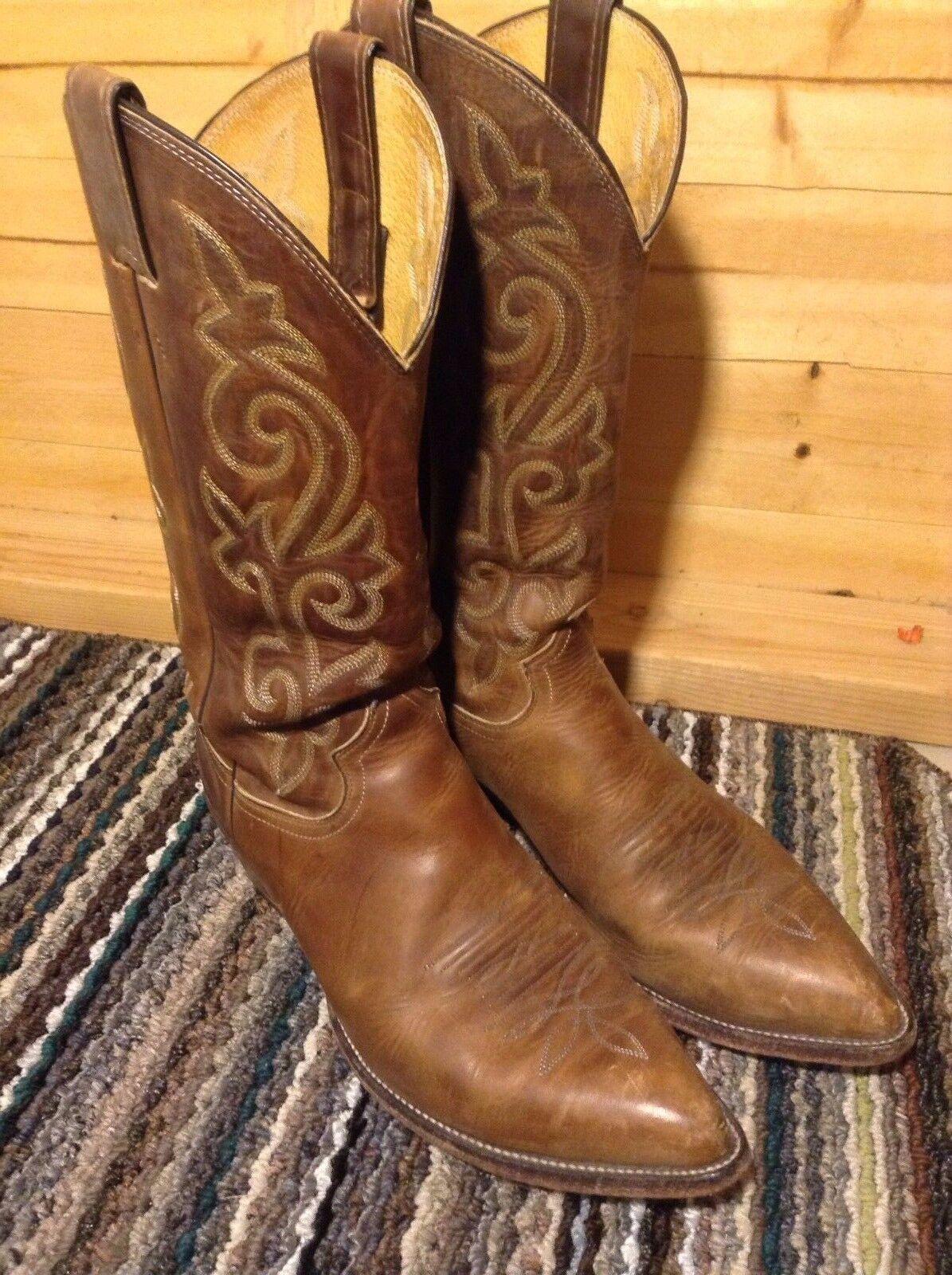 Vintage JUSTIN Comb Last Brown Cowboy Western Boots Men's 9 EE USA Made