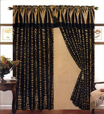 4 Pieces Satin Light Green/Black Flocking Zebra Pattern Window Curtain Drape Set