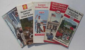 FIVE-Vintage-U-S-A-Travel-Maps-1963-2-1965-1967-1974