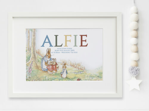 Personalised New Baby Peter Rabbit Birth Nursery Print Name Christening UNFRAMED