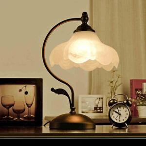 Country-Style-Black-Metal-White-Glass-Flower-Shade-Table-Desk-Light-Reading-Lamp