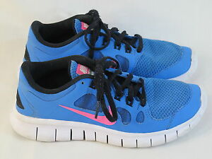 5587d404e516 NIKE Free 5.0 GS Running Shoes Girls Size 3.5 US Blue Pink Excellent ...