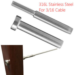 """Stainless Steel Receiver Stud Swage End Fitting for 3//16"""" Cable Railing 10X"""