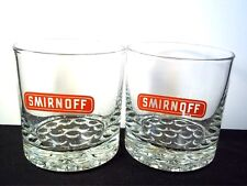 Pair of round rocks cocktail glasses Smirnoff Vodka red on clear 8 oz