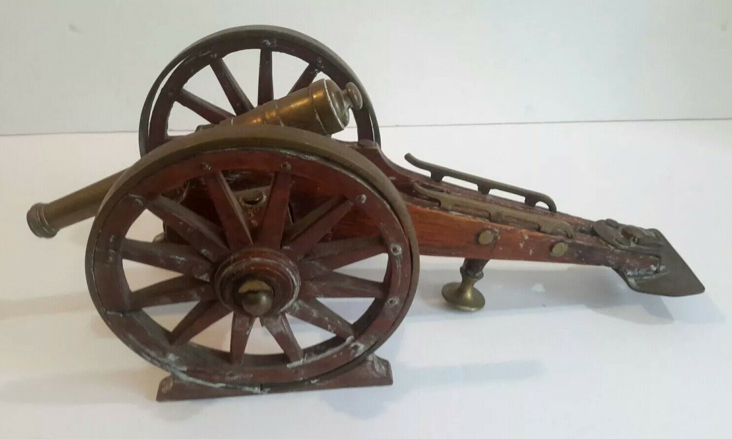 Antique Brass & Wooden Large Toy Cannon 13  long 6  wide 19th Century
