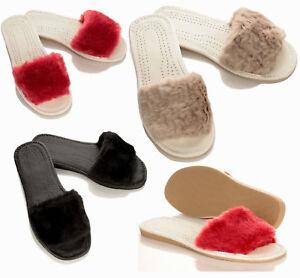 new york 84204 e2f8e Details zu Damen Moderne kuschelige Hausschuhe mit Kunstfell Pantoletten  Pantoffeln 36-41