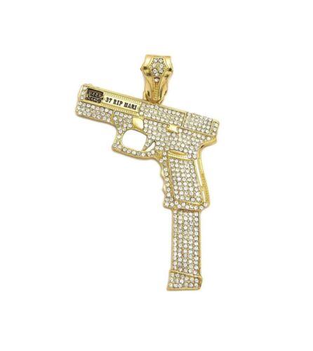 BOX ROPE CHAIN NECKLACE HIP HOP MENS GLIZZY GANG GUN PENDANT CUBAN
