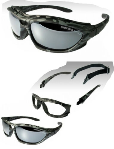 Mecara Camouflage Army Sport Brille Stirnpolsterung+Stretchband+Etui Bag UV400