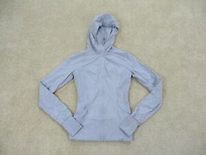 Lululemon Jacket Womens Size 6 Gray Blue Full Zip Hoodie Hooded Yoga Ladies