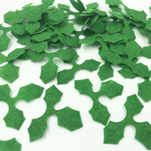 200pcs Green Holly leaves Felt Appliques DIY Sewing Christmas Decoration 46mm