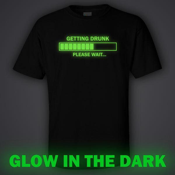 BLACK funny GLOW IN DARK T-shirt  GETTING DRUNK - Australian drinking team