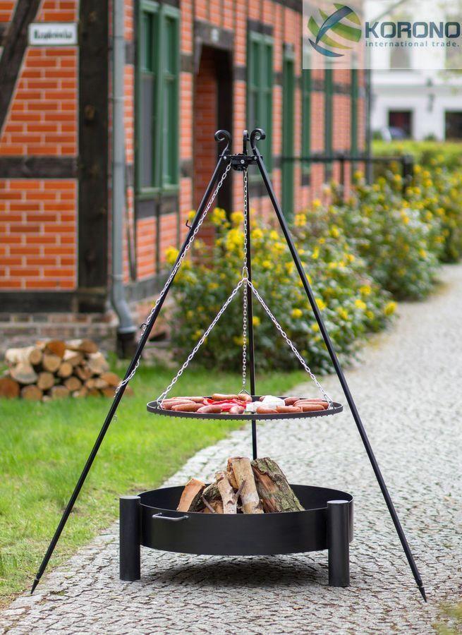 Korono Barbecue Oscillant Trépied 180cm, Vasque à Feu Ø 70cm, Edelrost Ø 60 Cm