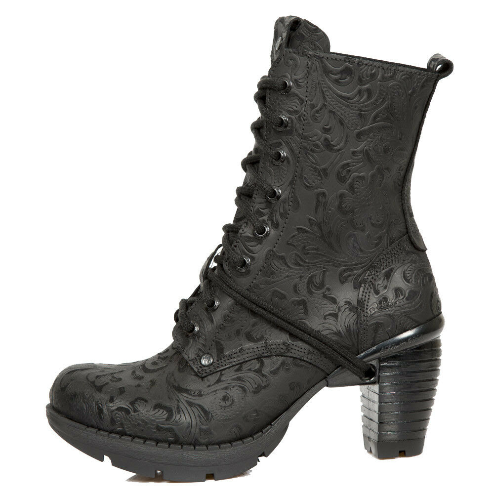 M.TR001X-S2 Ladies Black Floral Leather Ankle Boots - New Rock Wild Collection